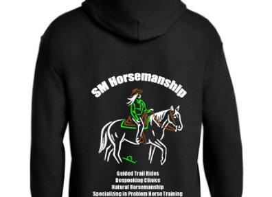SM HORSEMANSHIP MENS OR WOMENS  BASIC PULLOVER SWEATSHIRT(crew neck or hooded)