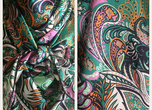 GREEN WITH ORANGE AND PINK PAISLEY