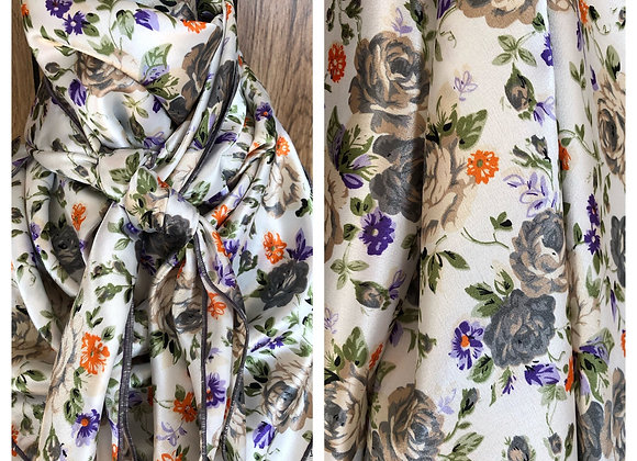 WHITE WITH GREY, PURPLE AND ORANGE FLORAL PRINT