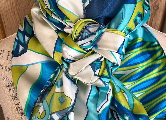 AQUA, LIME AND BLUE RETRO ABSTRACT PRINT