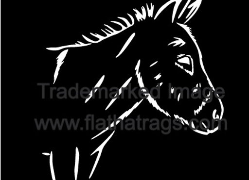 6 INCH TALL DONKEY HEAD DECAL SINGLE COLOR