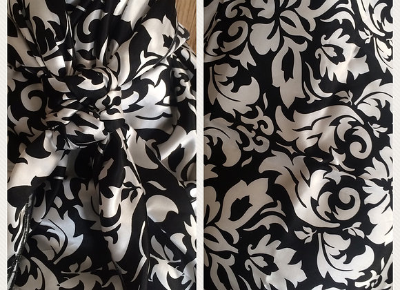 100% SILK BLACK AND WHITE FLORAL