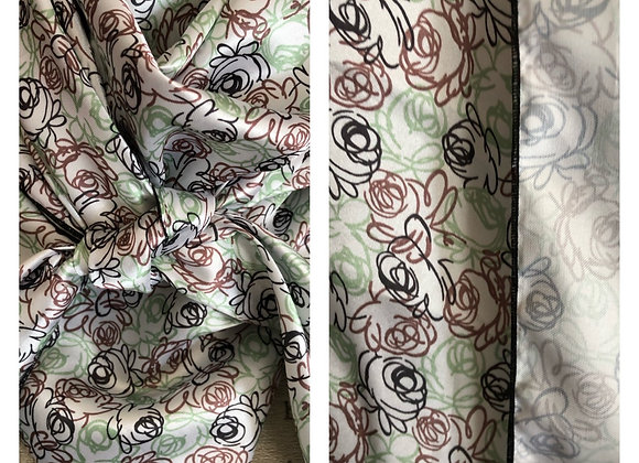 WHITE WITH BROWN, GREEN AND BLACK FLOWER SCRIBBLES PRINT