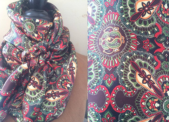 BROWN, RED AND GREEN PAISLEY PRINT
