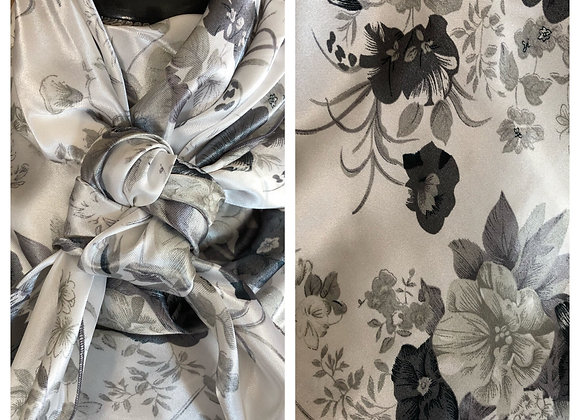 WHITE WITH VARIOUS GREYS FLORAL PRINT