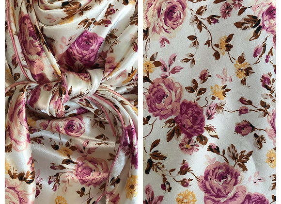 WHITE WITH PINK AND BROWN ROSES PRINT