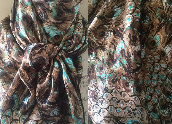 BROWN AND TEAL PEACOCK ANIMAL PRINT