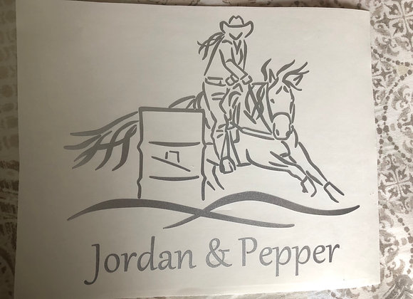 "6"" TALL SINGLE COLOR BARREL RACER DECAL"