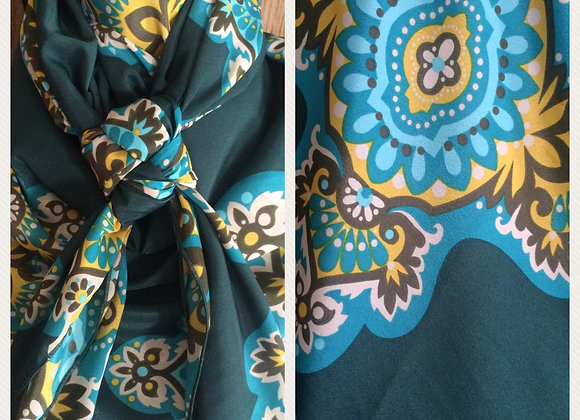 FOREST GREEN WITH TURQUOISE DAMASK
