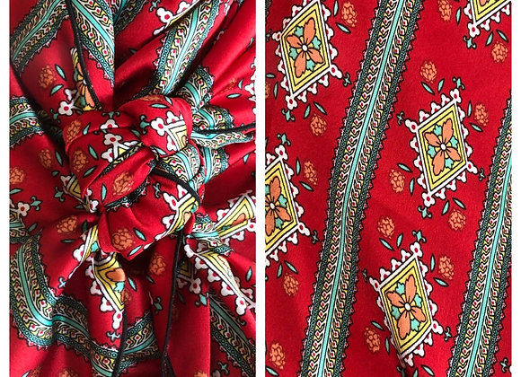 RED WITH GREEN AND GOLD SOUTHWEST PRINT