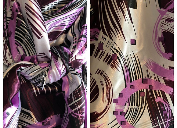 BLACK, LAVENDER, BURGUNDY AND WHITE BRUSH STROKES ABSTRACT PRINT