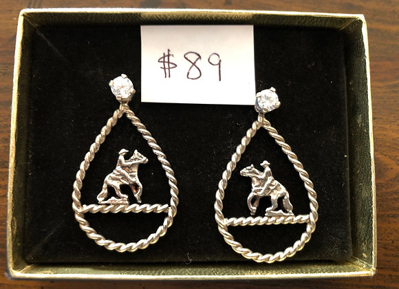 Reining Horse Sterling Silver Earrings with crystals