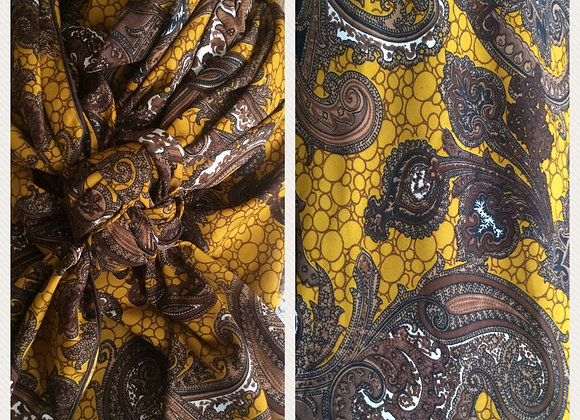 GOLDEN YELLOW WITH BROWN PAISLEY