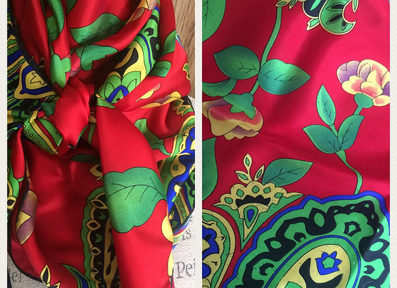 100% SILK RED WITH GREEN AND BLUE PAISLEY FLORAL