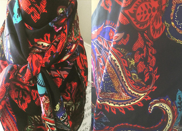 BLACK WITH RED, BLUE AND PURPLE PAISLEY