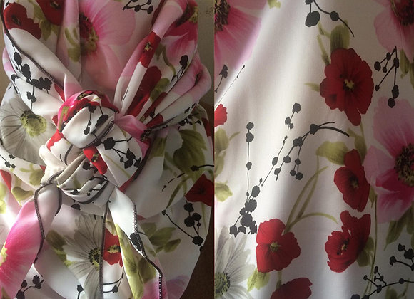 WHITE, RED AND BRIGHT PINK FLORAL PRINT