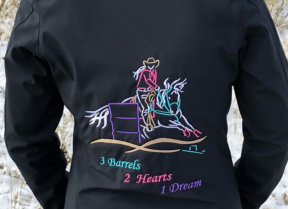 BARREL RACER 3 BARRELS, 2 HEARTS, 1 DREAM SOFTSHELL JACKET