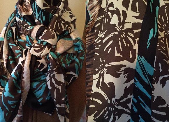 HAWAIIAN BLUE, BLACK AND CREAM FLORAL PRINT