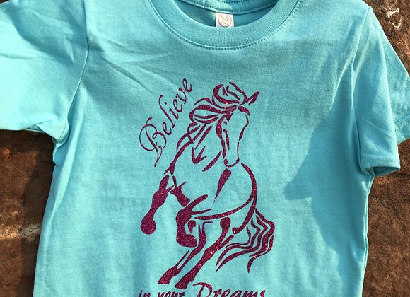 BELIEVE IN YOUR DREAMS GLITTER YOUTH TEE