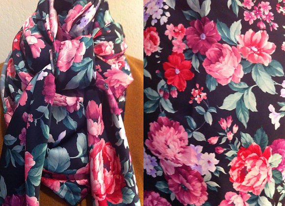 BLACK, PINK AND PURPLE FLORAL PRINT