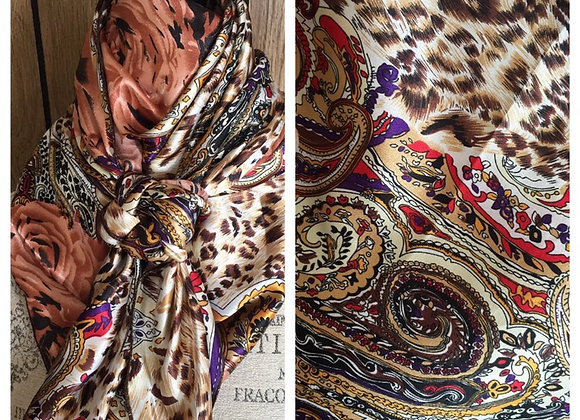 GOLD, BROWN, RUST, PURPLE PAISLEY FLORAL ANIMAL PRINT