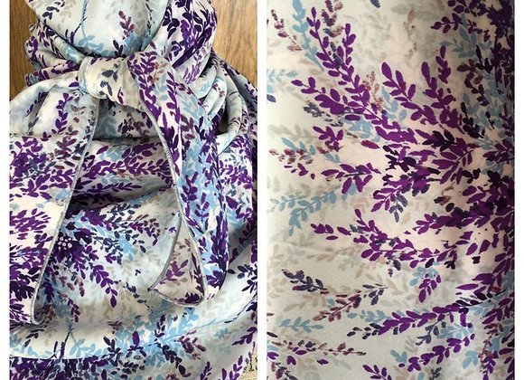 WHITE WITH DENIM BLUE AND PURPLE LEAVES PRINT
