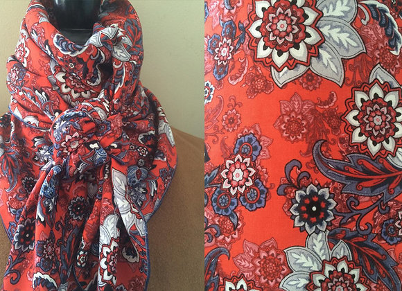 RED, NAVY AND WHITE PAISLEY PRINT