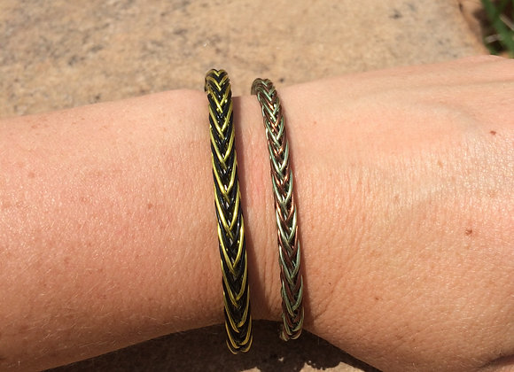 HAND BRAIDED WIRE BRACELET (2-Color Tight Weave)