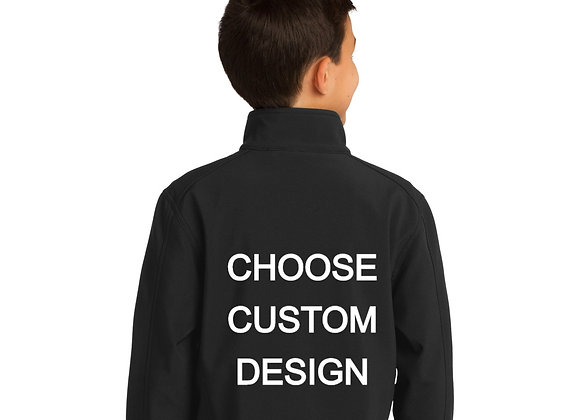CUSTOM DESIGN YOUTH EMBROIDERED SOFTSHELL WITH NAME ON FRONT