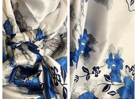 WHITE WITH ROYAL BLUE FLORAL