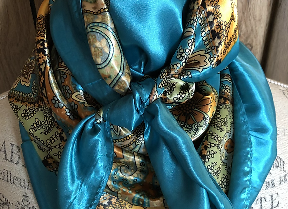 TURQUOISE WITH GOLD PAISLEY