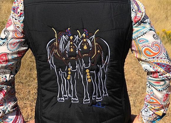 LADIES BLACK PUFFY VEST WITH DRAFT HORSES