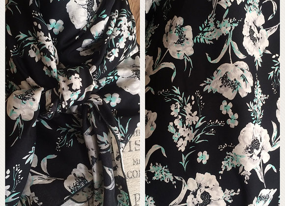 BLACK WITH GREY AND MINT FLORAL