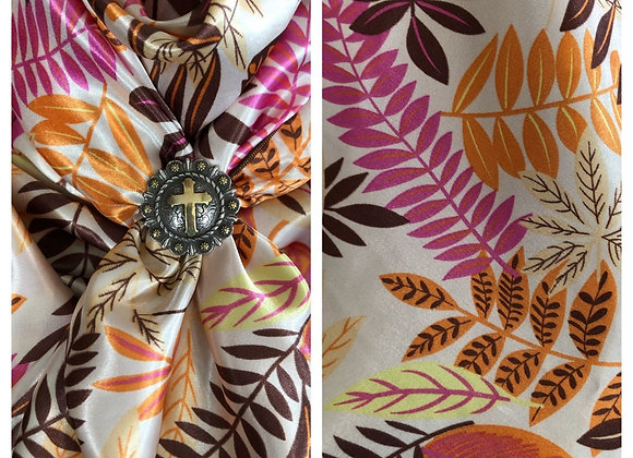 WHITE WITH PINK, ORANGE AND BROWN FLORAL LEAVES PRINT
