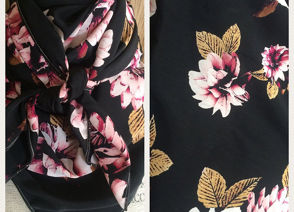 BLACK WITH PINK FLORAL