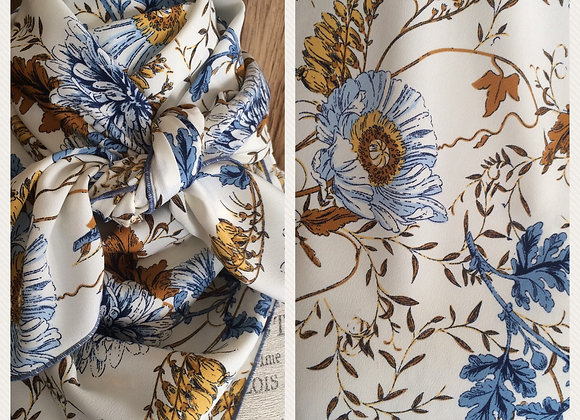 WHITE WITH DENIM BLUE AND GOLD FLORAL