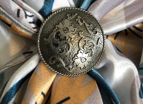 Antique Silver with Flowers Concho Slide