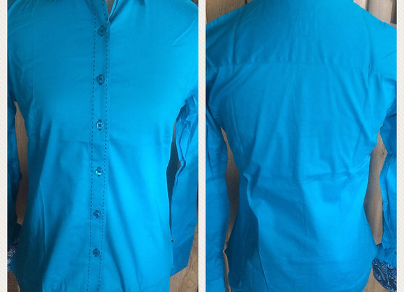TEAL SOLID BUTTON UP WITH BUCKSTITCH DETAIL
