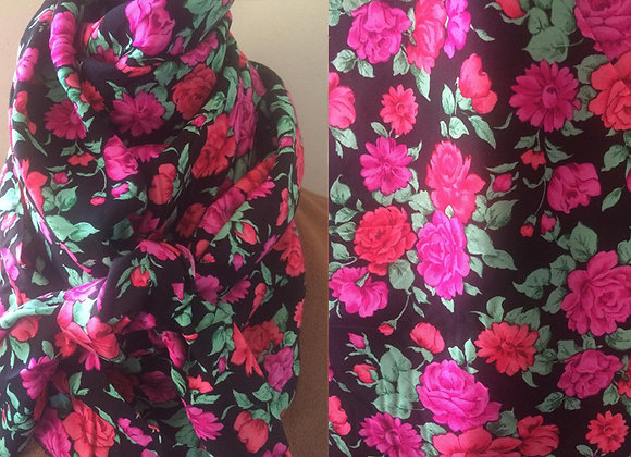 BLACK WITH BRIGHT PINK FLORAL PRINT