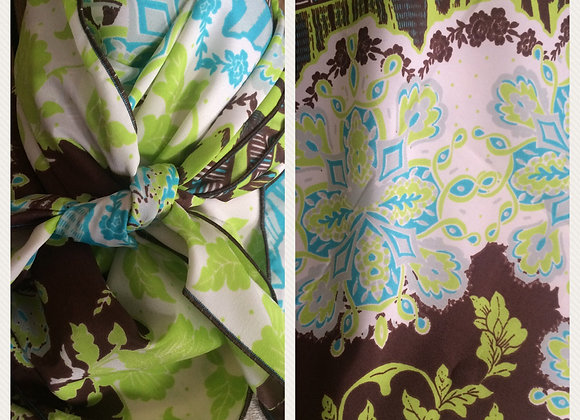 LIME, TURQUOISE AND BROWN ON WHITE DAMASK