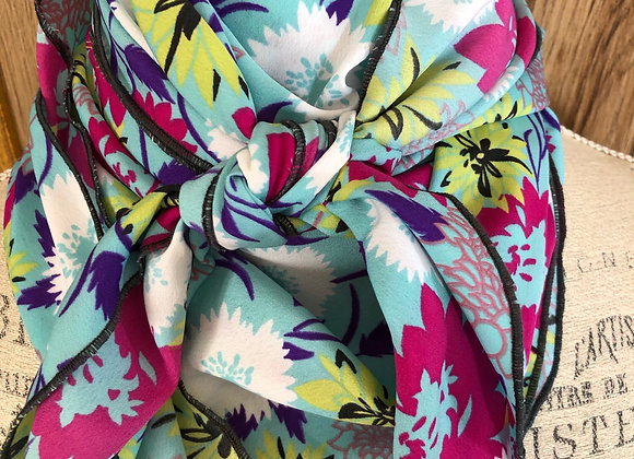 AQUA WITH MAGENTA, WHITE AND LIME FLORAL PRINT
