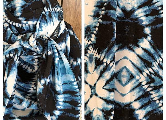 BLUE AND BLACK TIE DYE PRINT