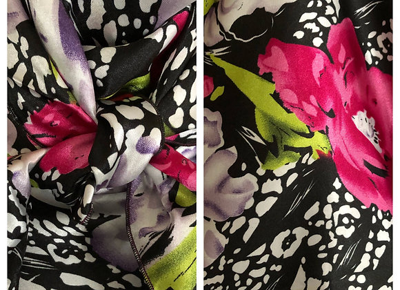 BLACK WITH MAGENTA AND LIME FLORAL PRINT