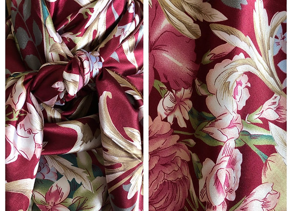 BURGUNDY WITH CREAM FLORAL PRINT