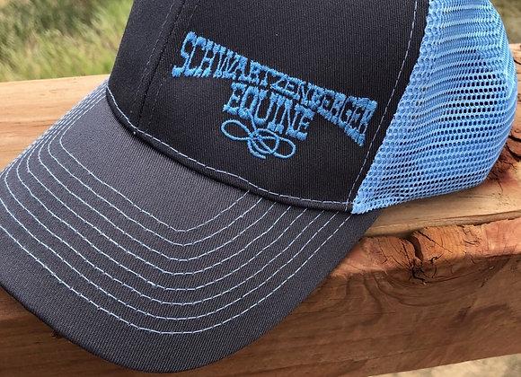 SCHWARTZENBERGER LOGO HATS CHARCOAL GREY WITH CAROLINA BLUE