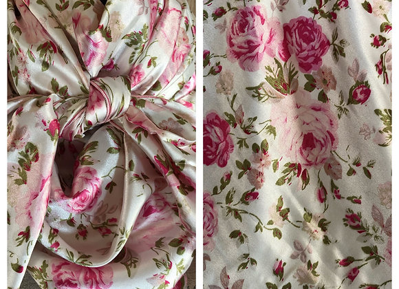 WHITE WITH PINK AND OLIVE GREEN ROSES PRINT