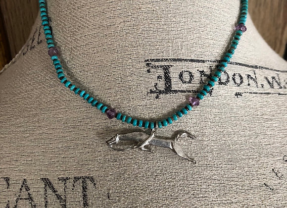Turquoise Necklace with Sterling Silver jumping horse pendant