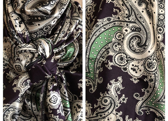 EGGPLANT PURPLE WITH CREAM AND MINT GREEN PAISLEY