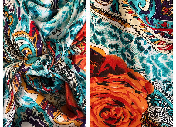 TURQUOISE WITH RUST AND PURPLE ANIMAL, PAISLEY, FLORAL