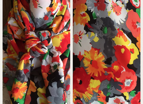 BRIGHT RED WITH GREY, GREEN AND YELLOW FLORAL